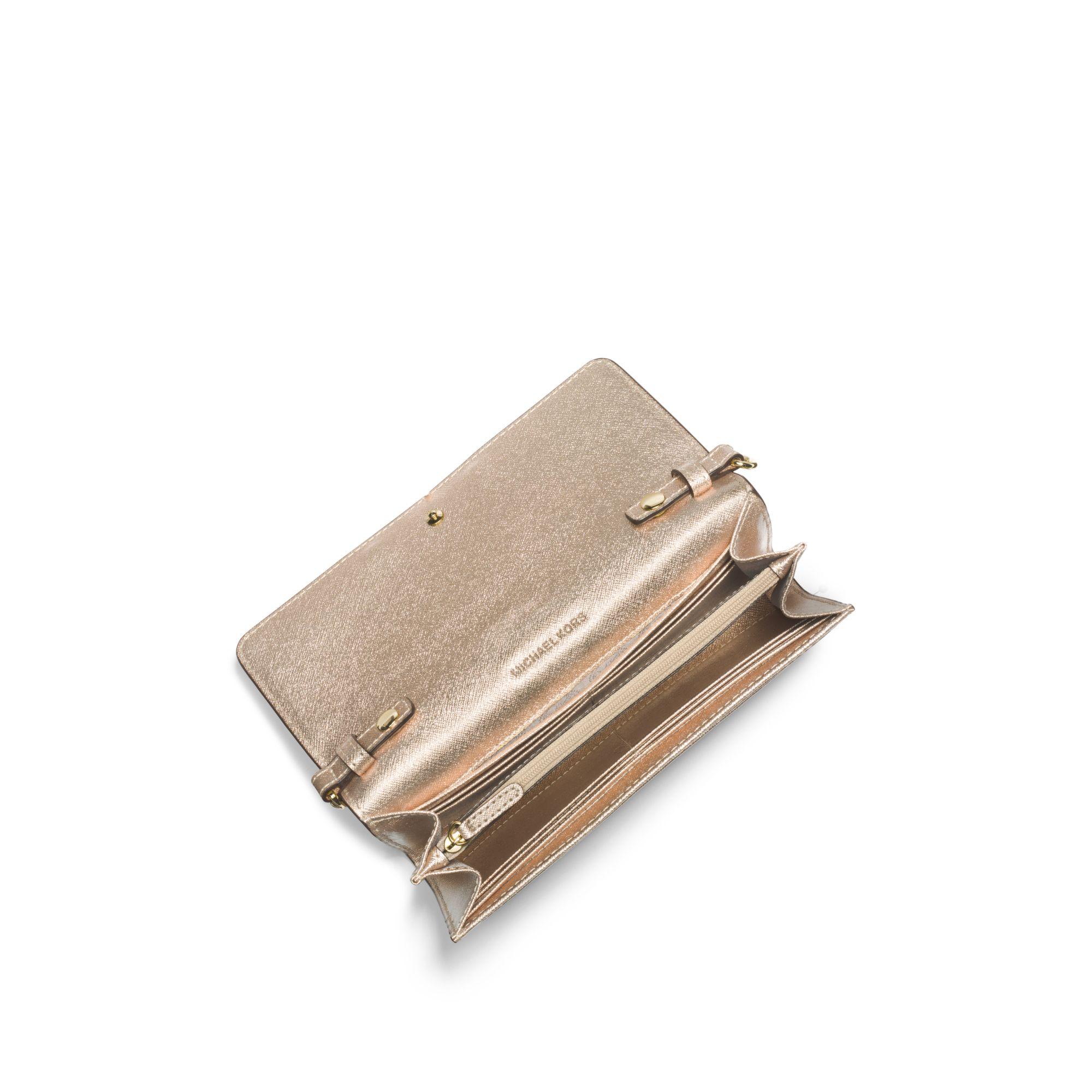 6d8bdabf9788 Michael Kors Jet Set Travel Metallic Saffiano Leather Chain Wallet ...