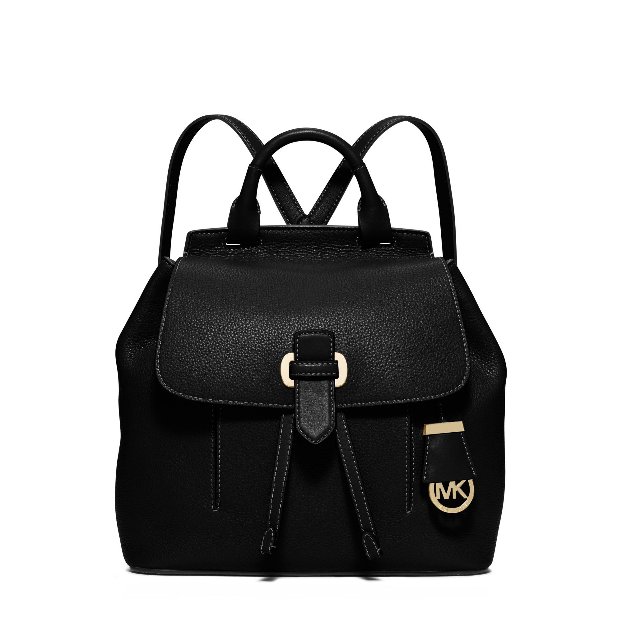 95a37ea12413 Michael Kors Romy Medium Leather Backpack in Black - Lyst