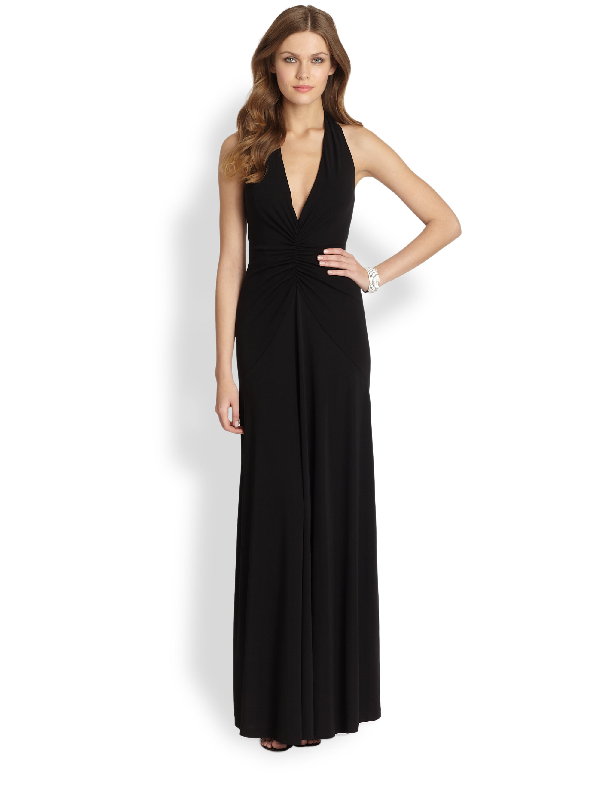 Lyst - Nicole Miller Jersey Halter Gown in Black