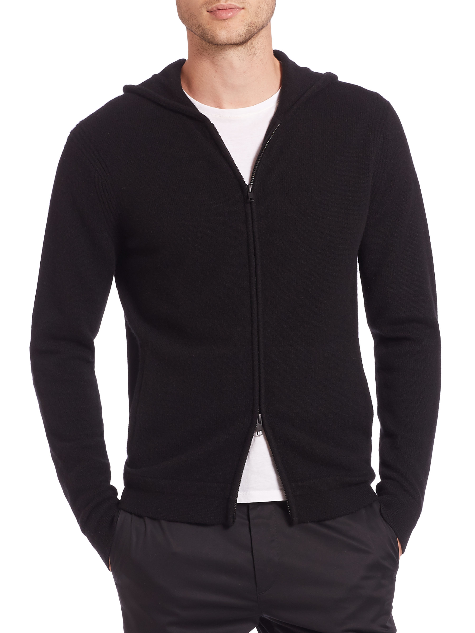 Theory Cashmere Zip Hoodie in Black for Men | Lyst