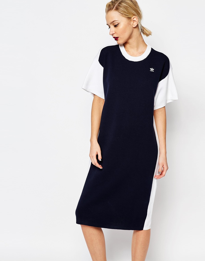 4844fd3a676 Adidas Originals 3 Stripe Black Midi Dress Women S Clothing Etc In ->  Source. Gallery