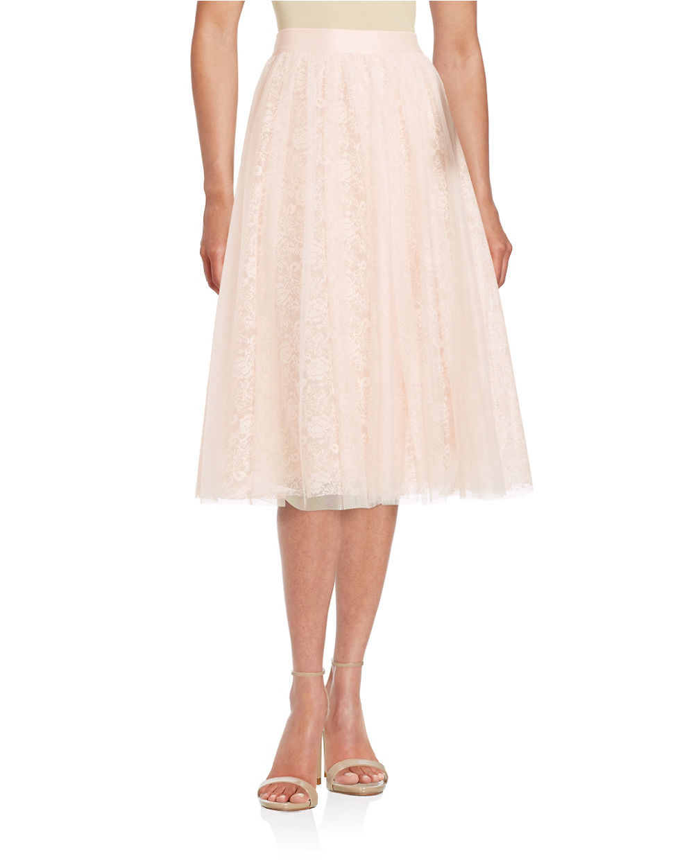 d0d3af5b12b16 Bailey 44 Lace-underlay Tulle Midi Skirt in Red - Lyst