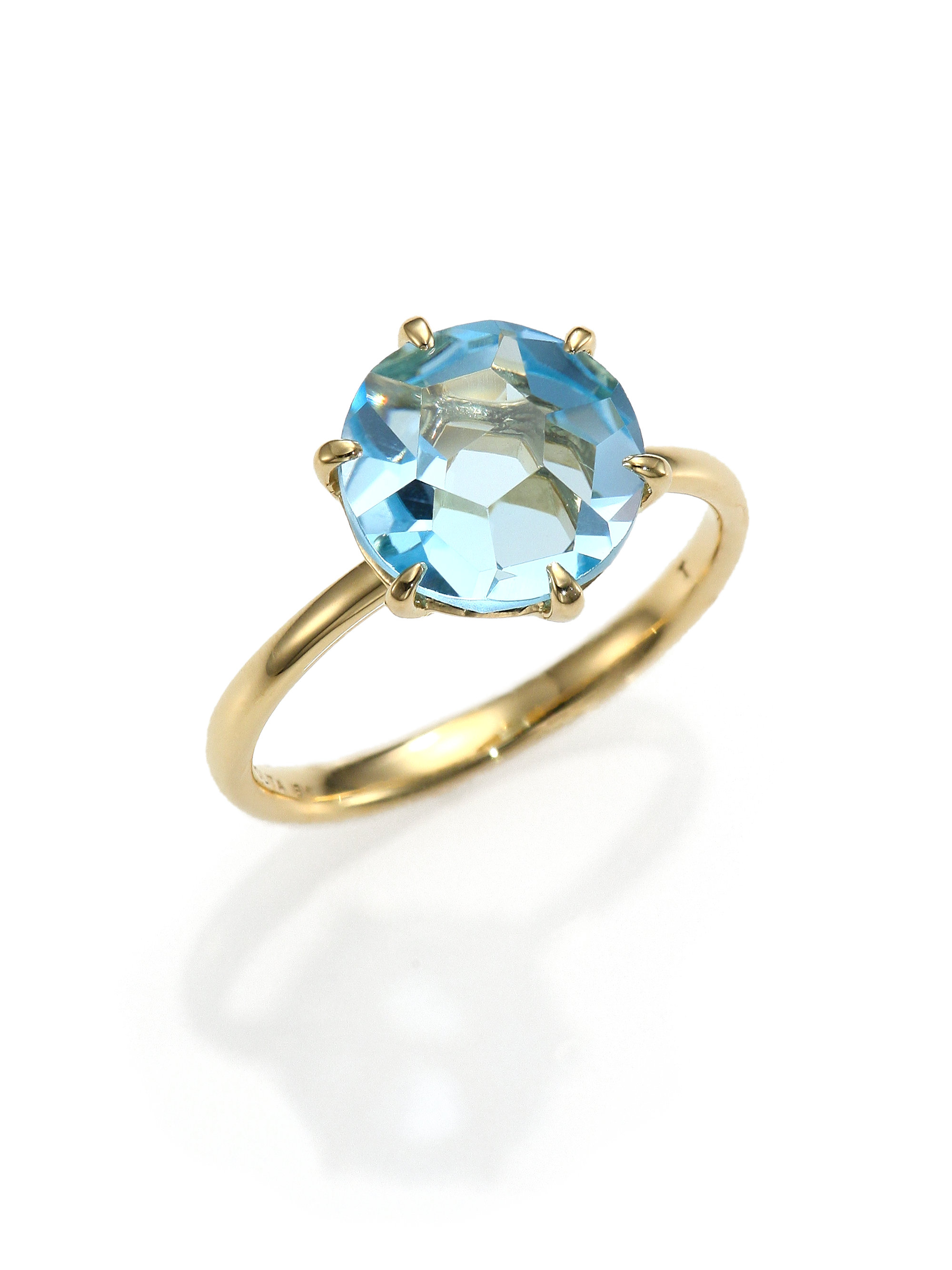 Ippolita 18k Gold Rock Candy Lollipop Ring in Blue Topaz with DIamonds
