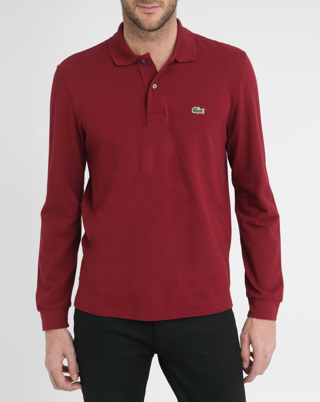 Lacoste burgundy long sleeve polo shirt in purple for men for Polo shirts long sleeve men
