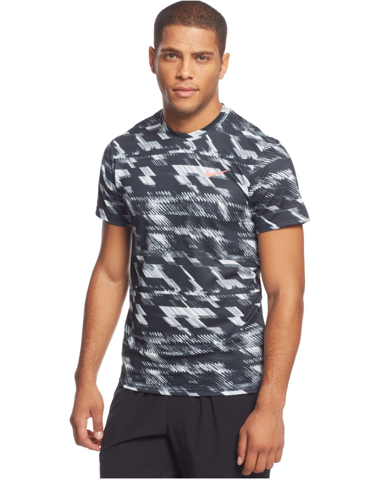 Nike rally sphere printed dri fit t shirt in gray for men for Dri fit material shirts