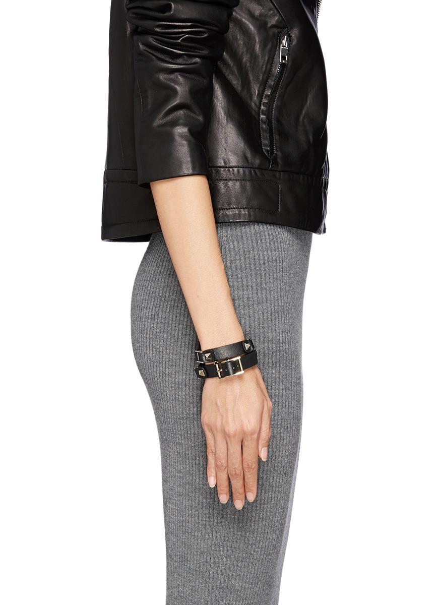 Rockstud wraparound leather bracelet Valentino 2WzW9