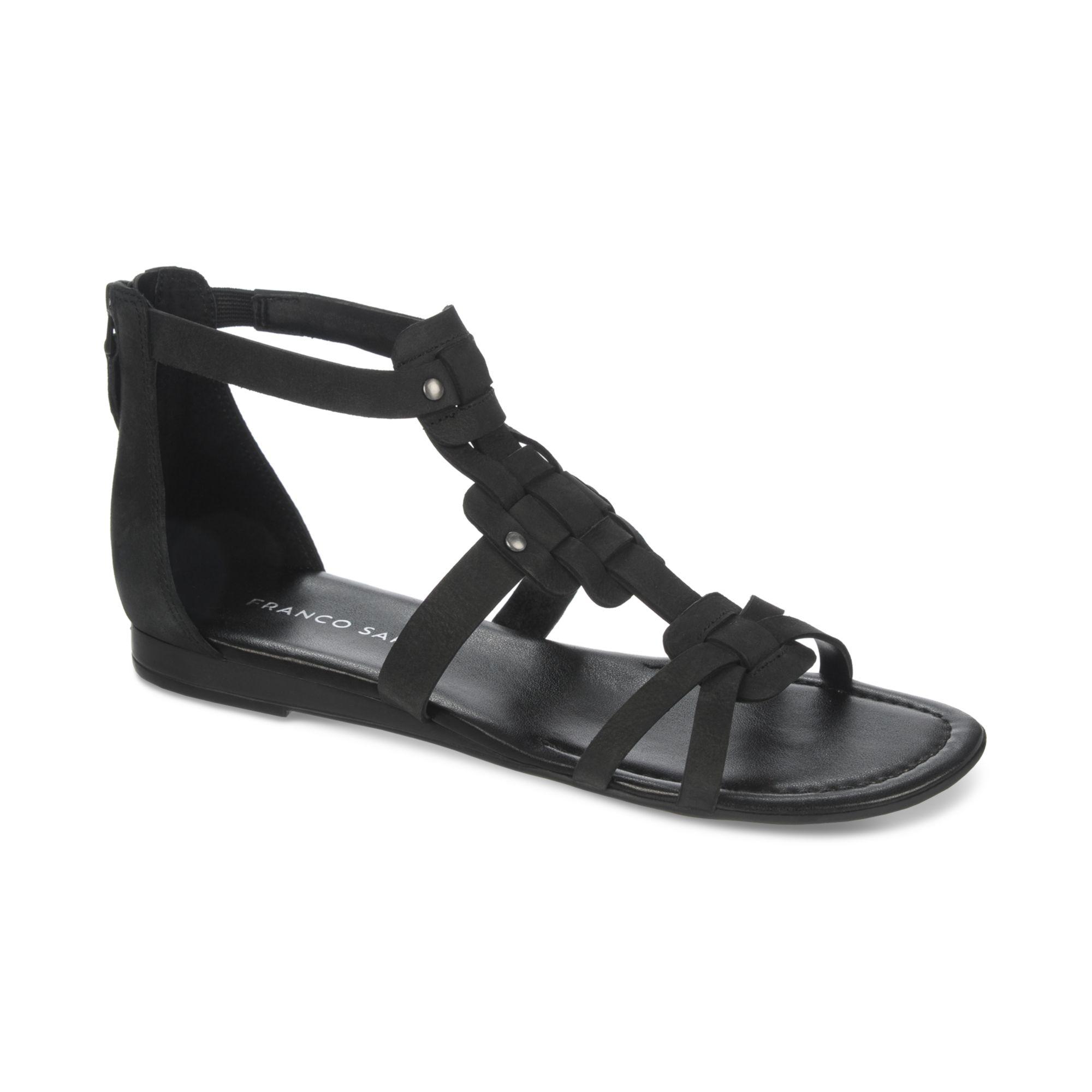 Franco Sarto Glare Mini Wedge Gladiator Sandals In Black