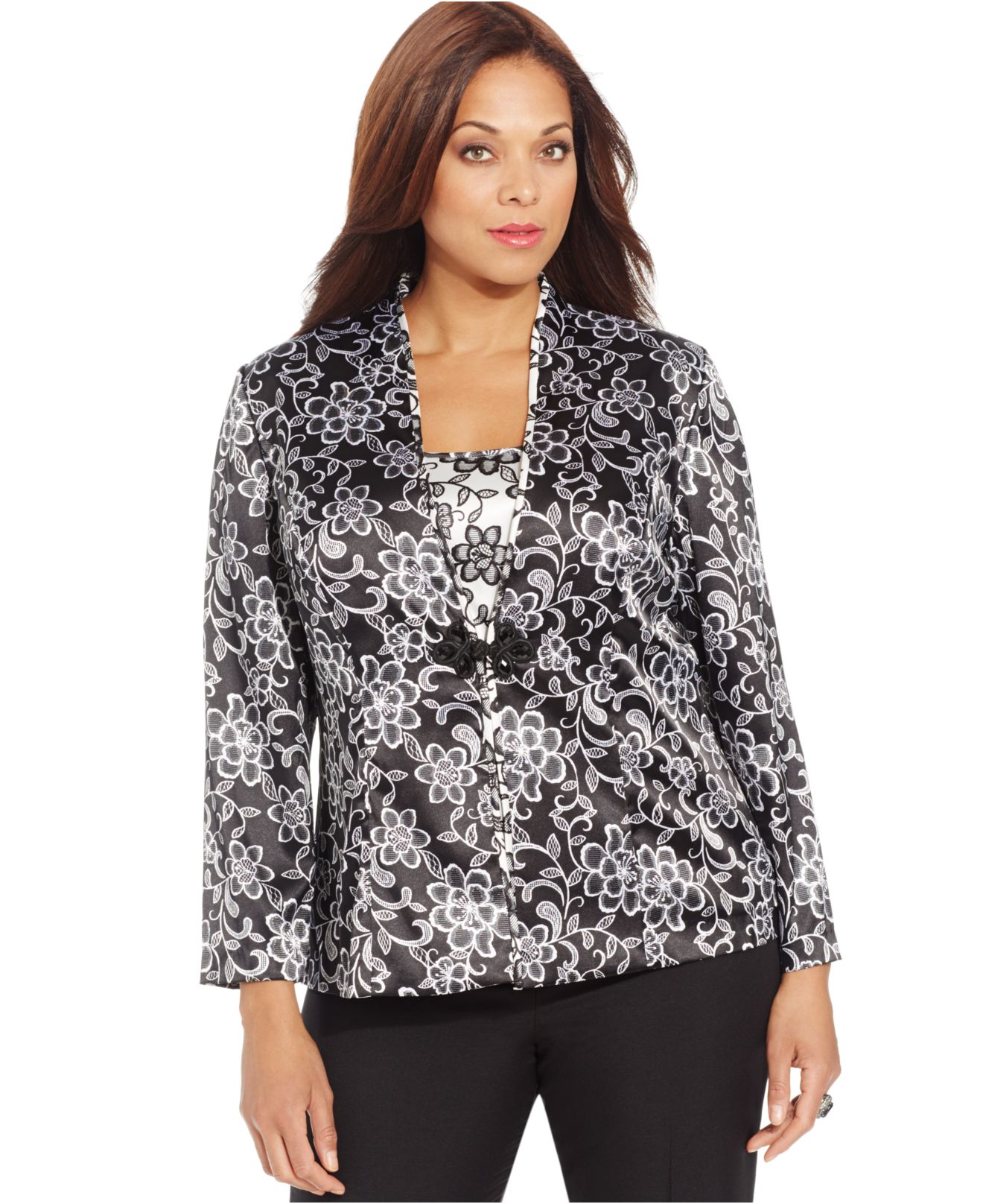 alex evenings plus size long-sleeve floral-print jacket and shell