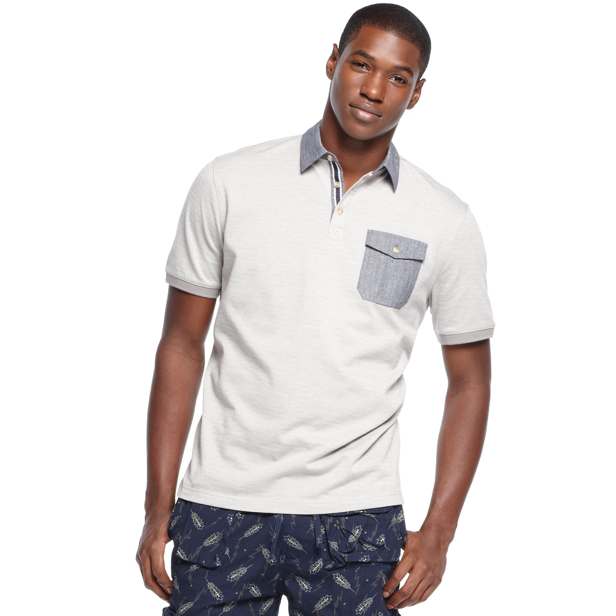 Sean john big tall woven collar chambray pocket polo in for Big and tall polo shirts with pockets