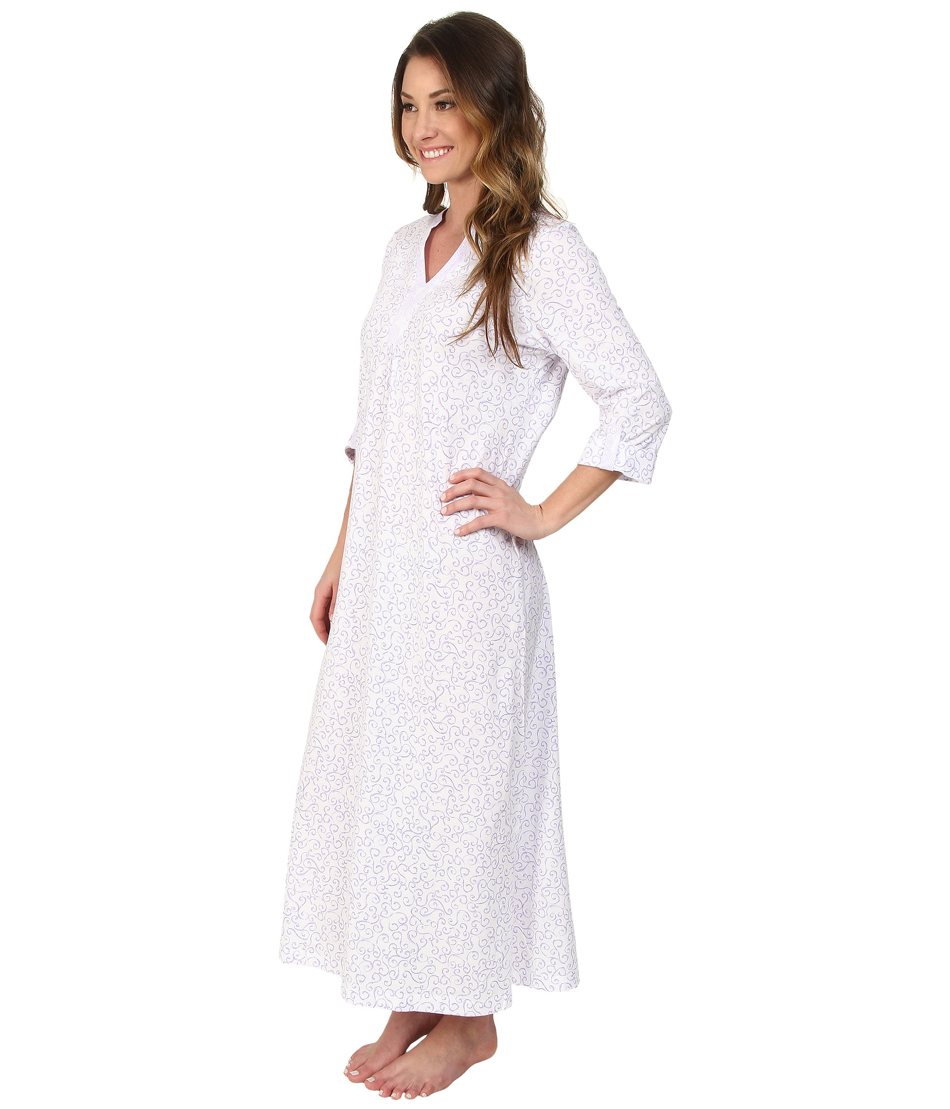 White Cotton Jersey Nightgowns La Cera Women S Embroidered