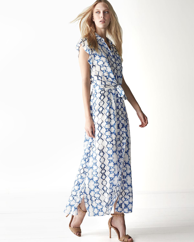 One shoulder flutter sleeve maxi dress