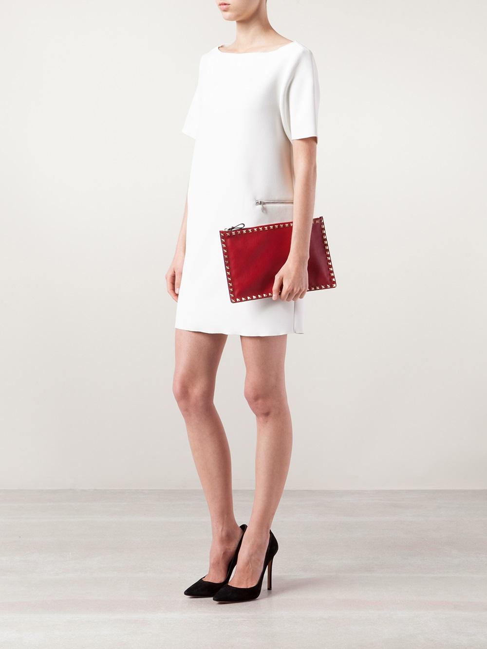 ce6a36c141 Valentino Rockstud Large Flat Clutch in Red - Lyst