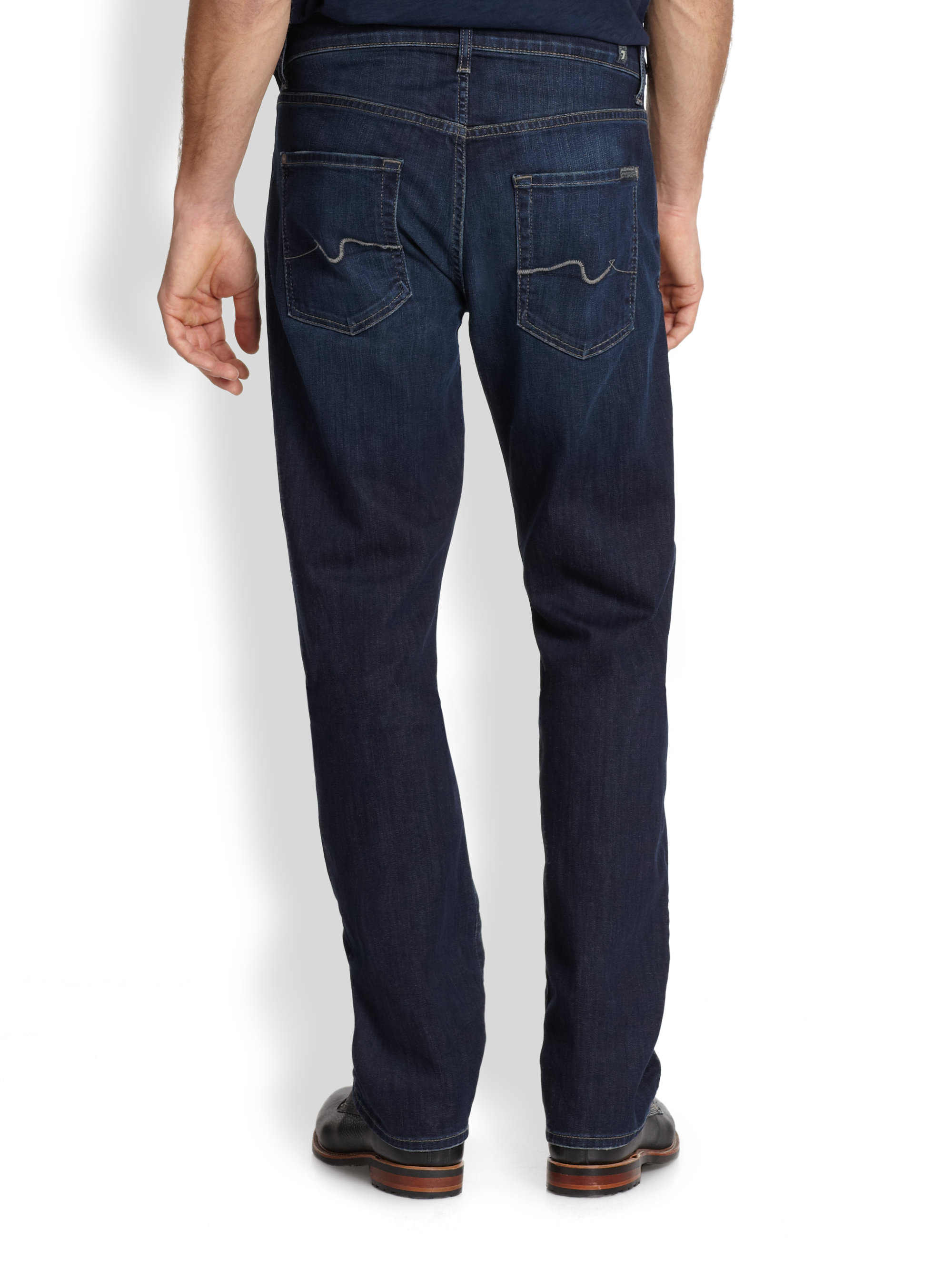 lyst 7 for all mankind luxe performance carsen modern straight leg jeans in blue for men. Black Bedroom Furniture Sets. Home Design Ideas