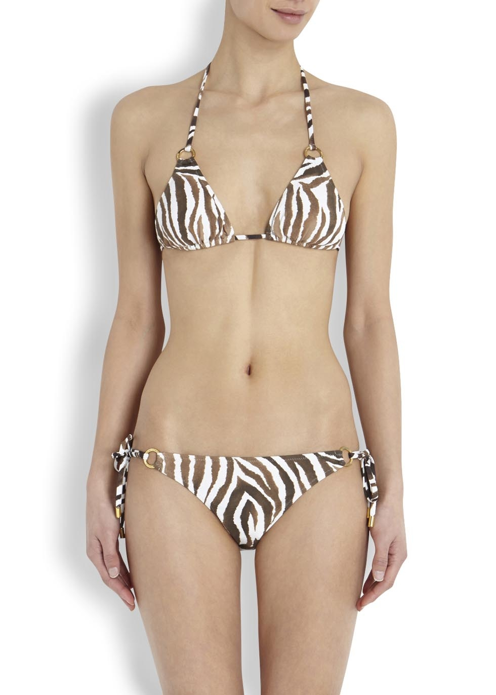 Lyst Melissa Odabash Brown And White Zebra Print Bikini
