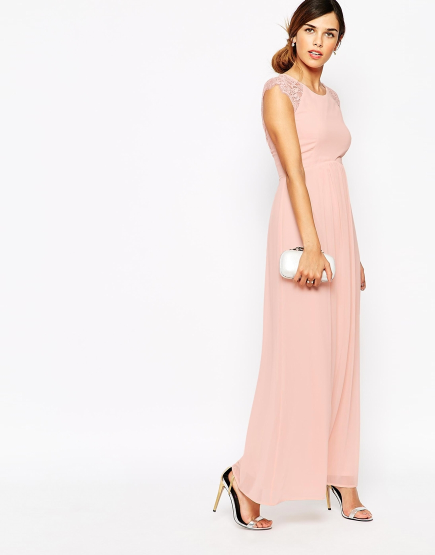 Sweetheart Bandeau Frill Dress With Lace Trim - Nude Elise Ryan qhaJkw
