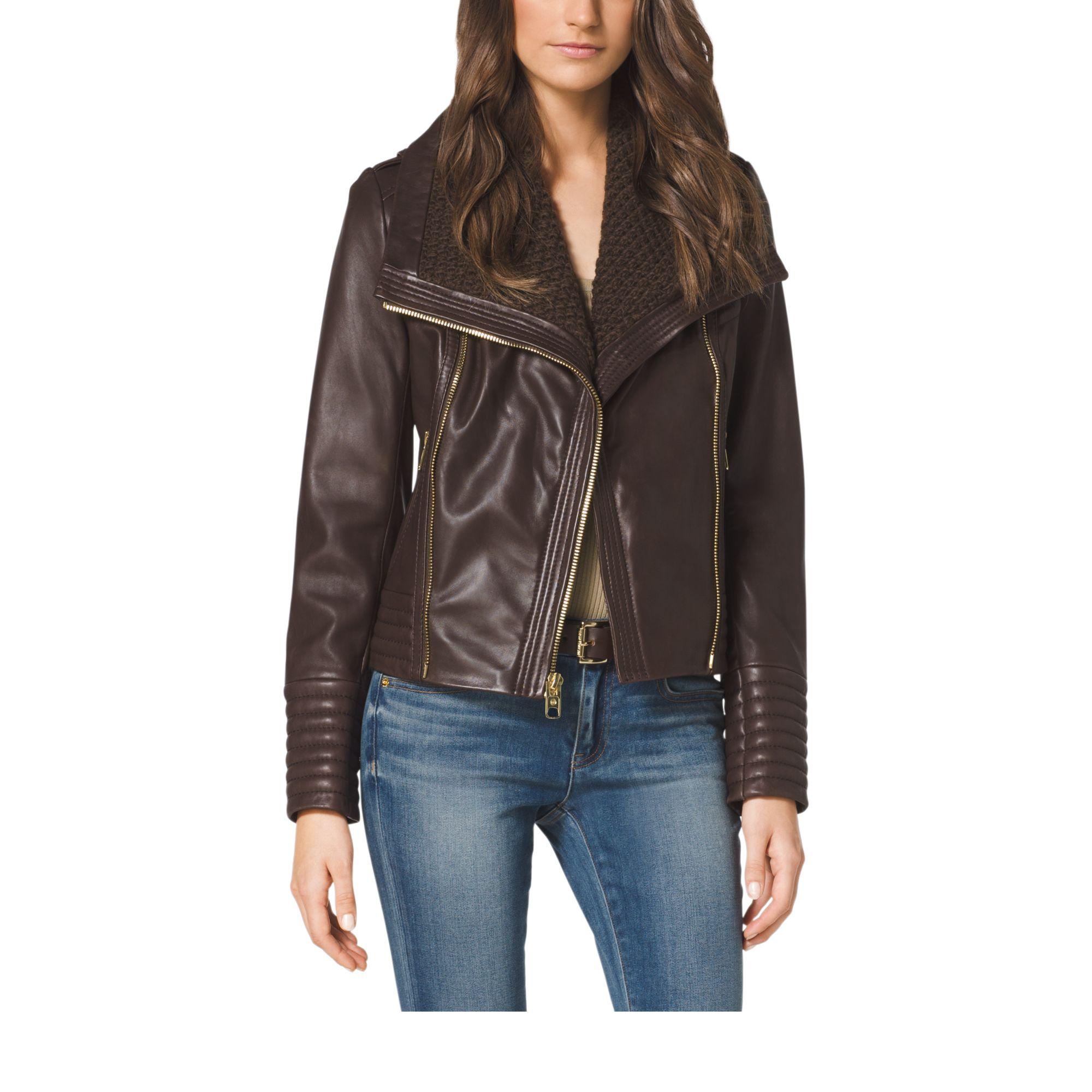 3770bc3ec262 Lyst - Michael Kors Asymmetric-Zip Leather Jacket in Brown