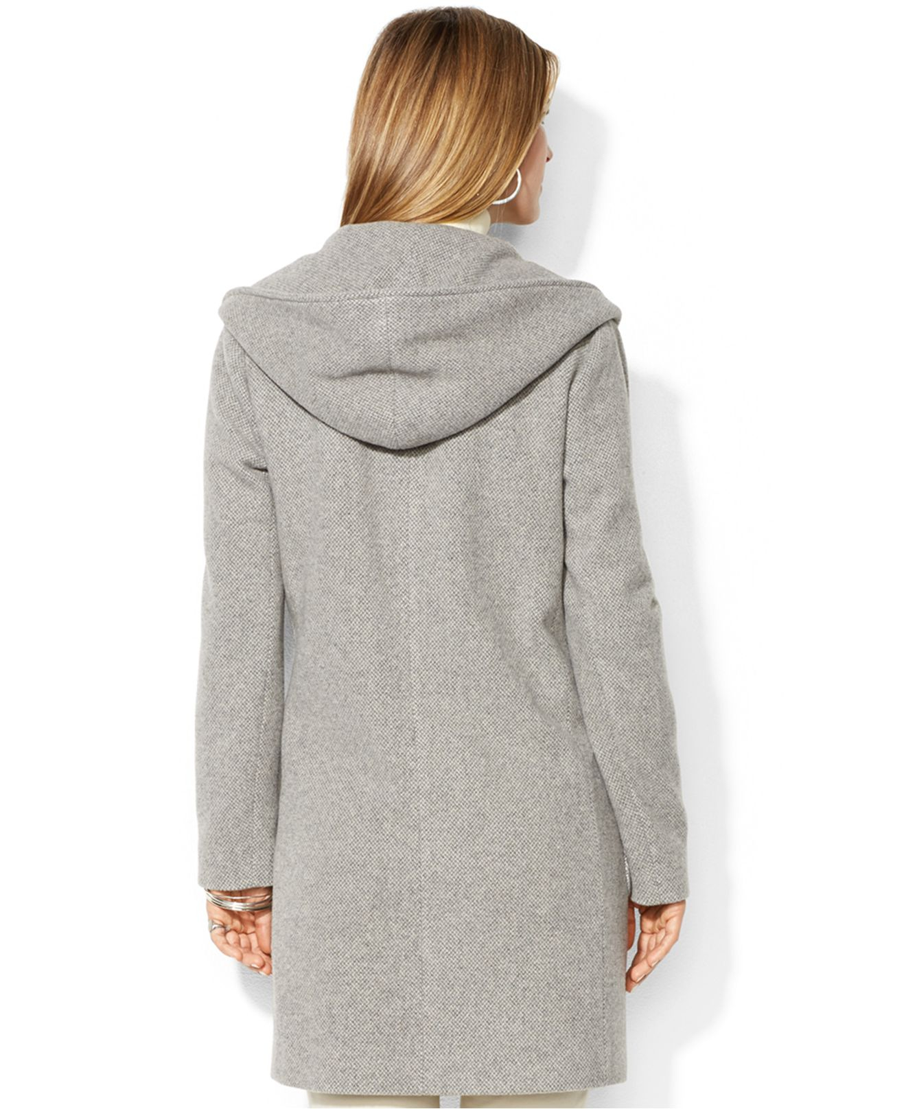 2c8d8969283e0 Lyst - Lauren by Ralph Lauren Hooded Herringbone Wool-Cashmere-Blend ...