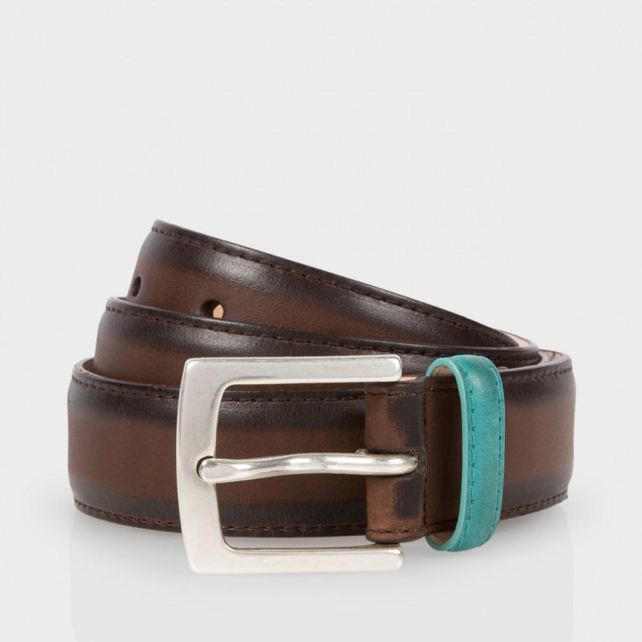 paul smith brown burnished leather suit belt in brown
