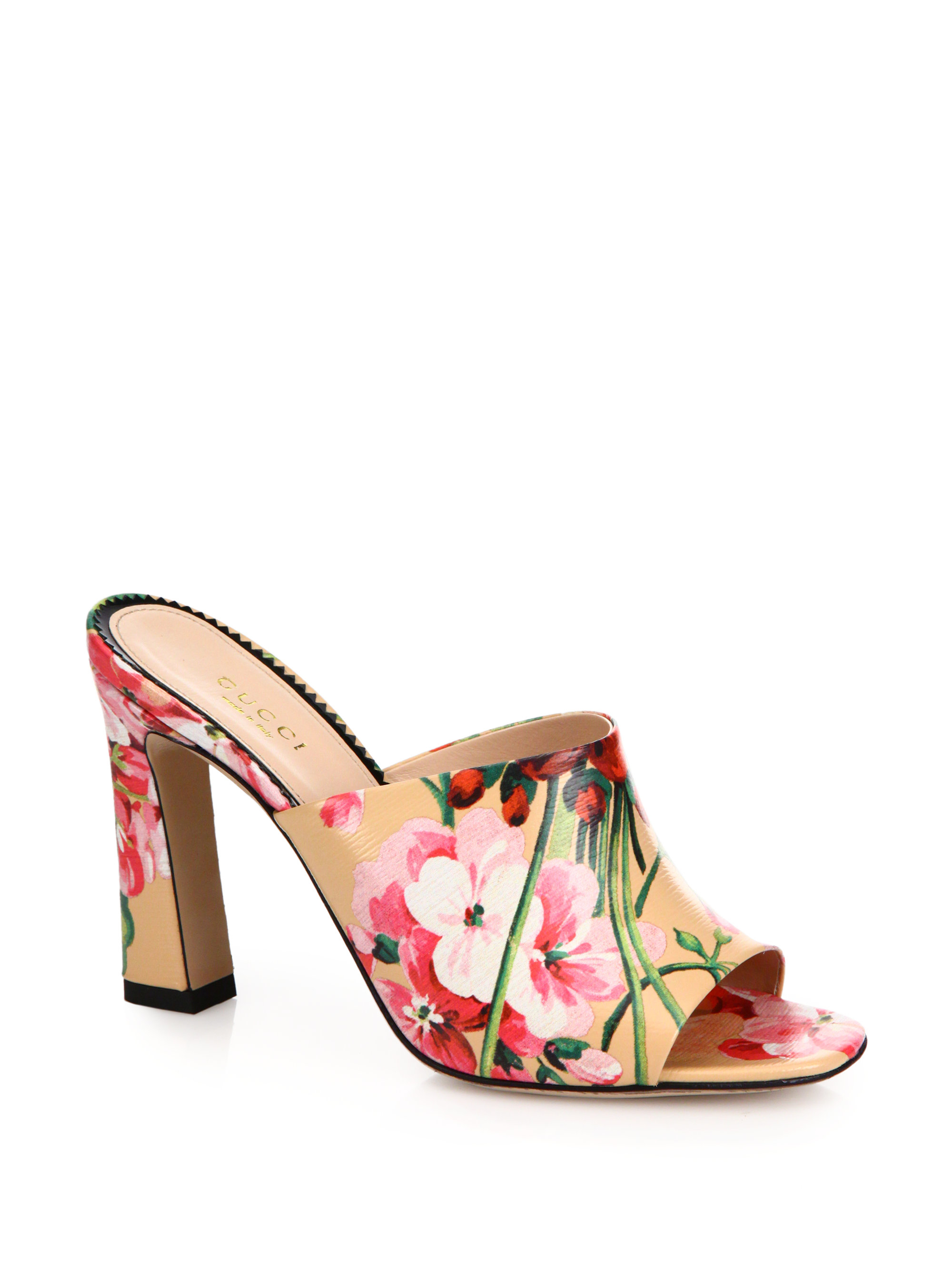 Gucci Marine Floral Print Leather Mules Lyst