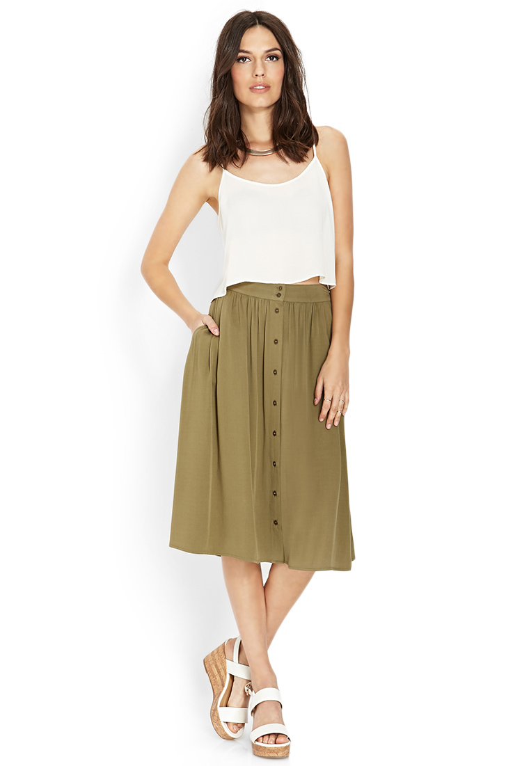 Forever 21 Button-Front Midi Skirt in Green | Lyst