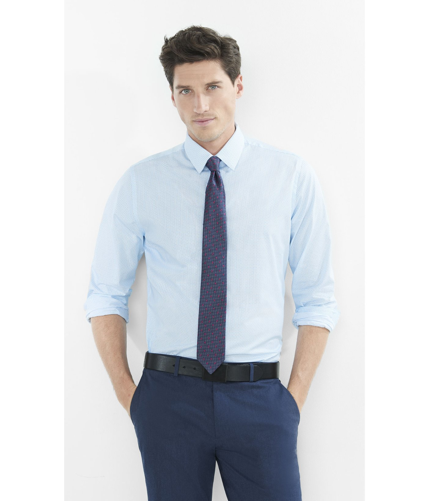 Lyst Express Fitted Print Dress Shirt In Blue For Men