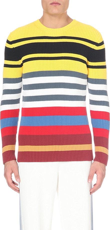 Loewe Multi Coloured Striped Knitted Jumper For Men For Men Lyst