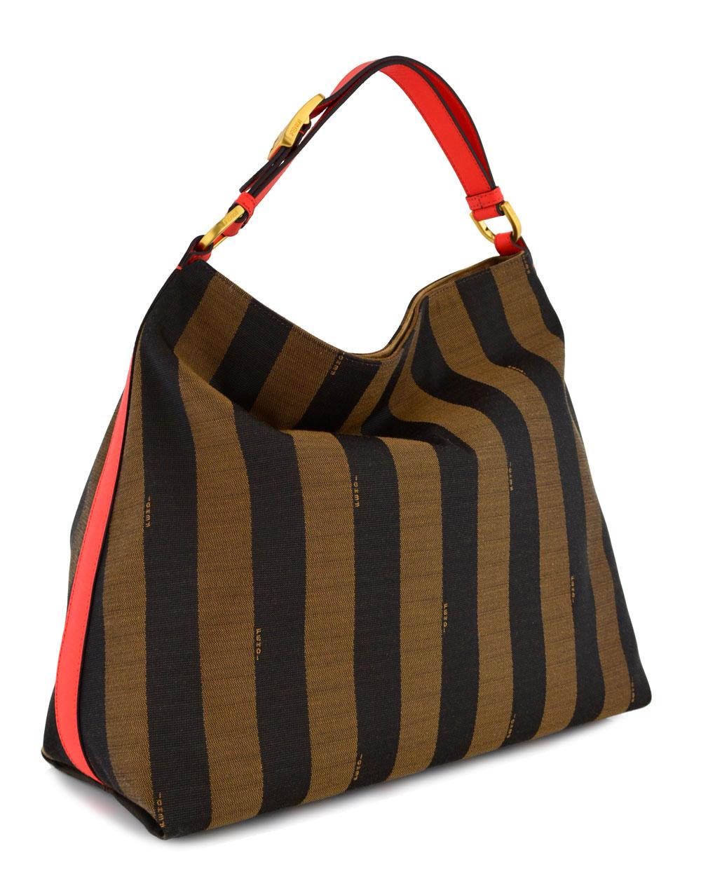 Lyst - Fendi Pequin Stripe and Poppy Borsa Hobo Bag in Brown 619db8e9992