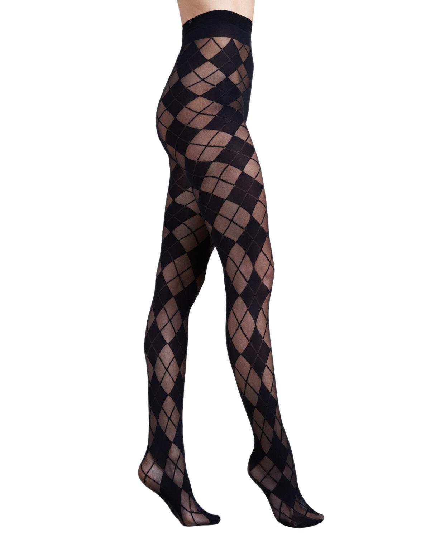 Lyst Alice Olivia Argyle Semisheer Tights In Black