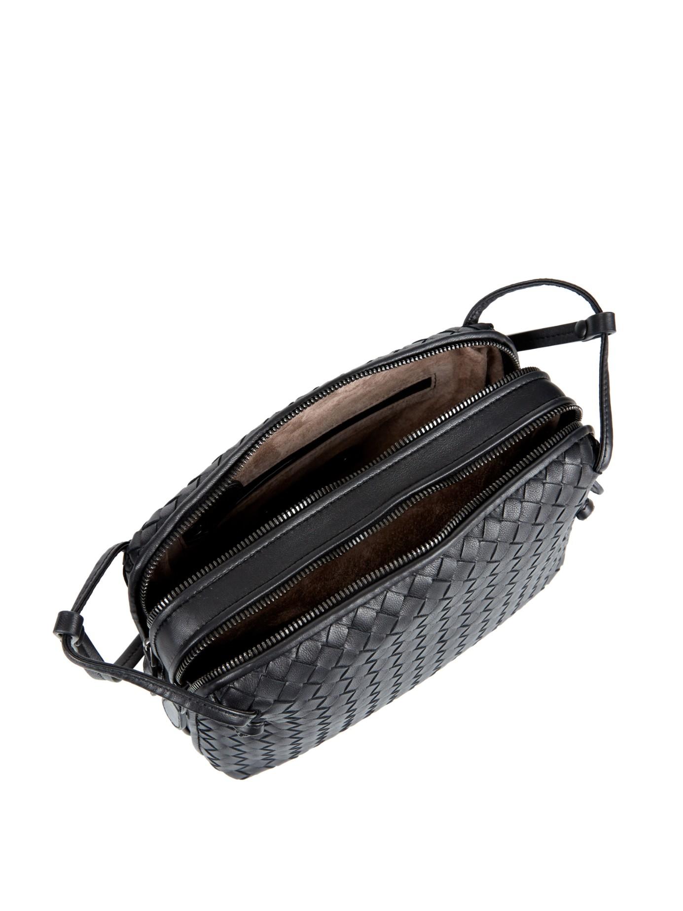 f36dbff6fa Lyst - Bottega Veneta Intrecciato Leather Two-compartment Cross-body Bag in  Black