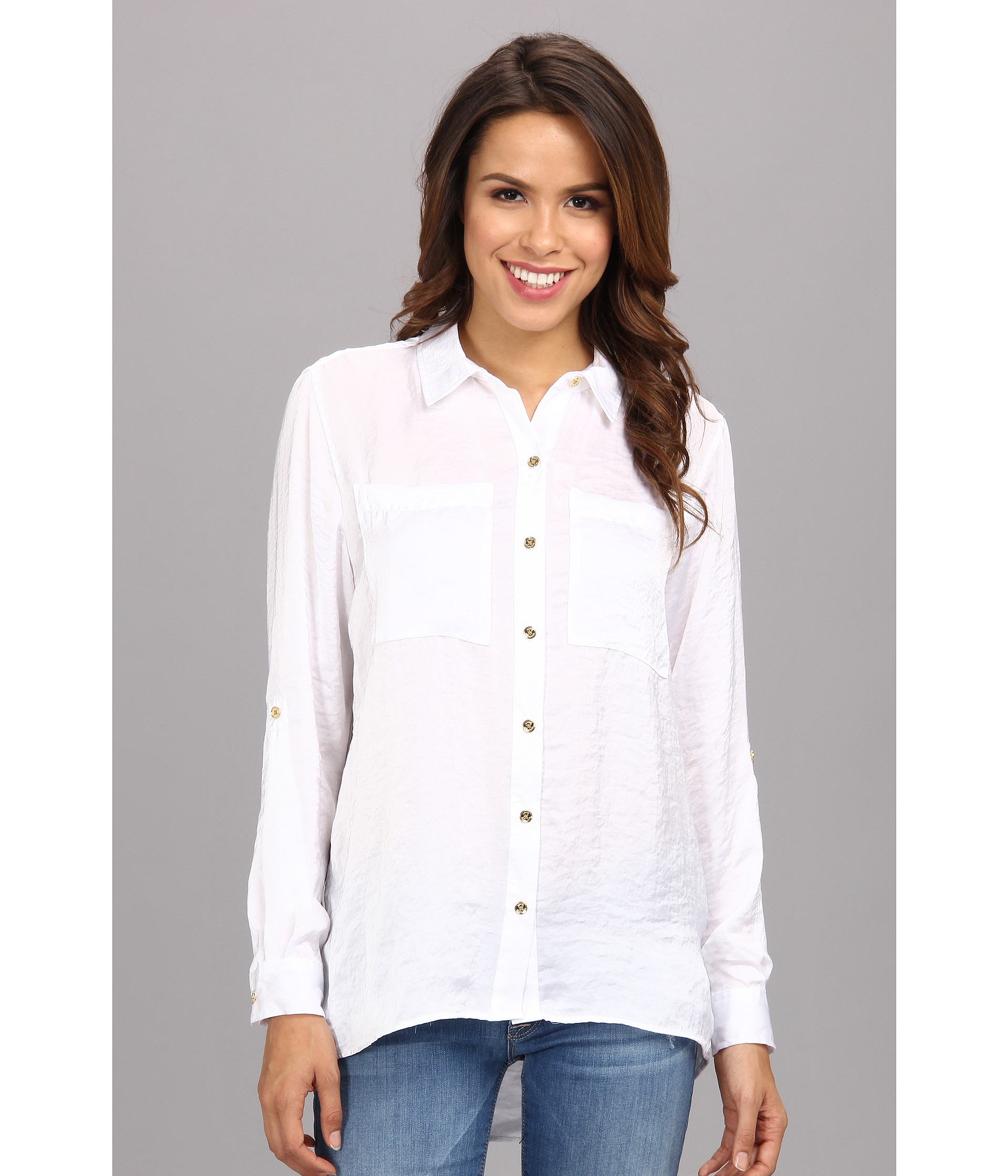 ac2dc80aed Lyst - MICHAEL Michael Kors Highlow Button Down Shirt in White