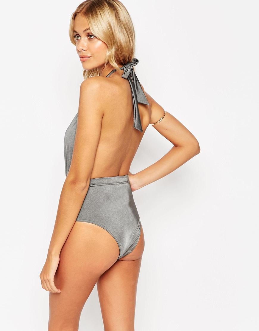 5b1dc9c167 Lyst - ASOS 70s Plunge Halter Swimsuit in Gray