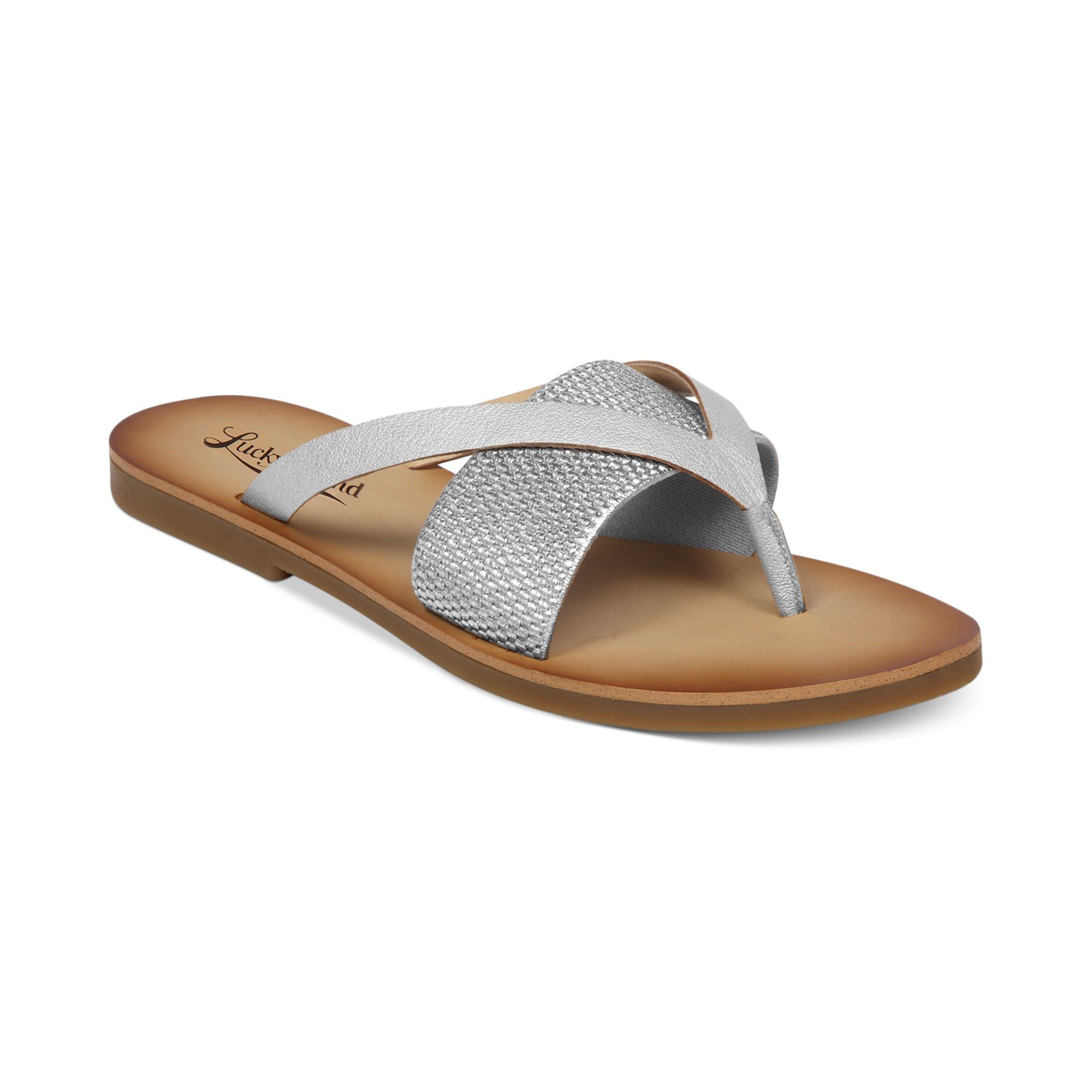 Lucky Brand Womens Baxx Flat Thong Sandals In Silver   Lyst
