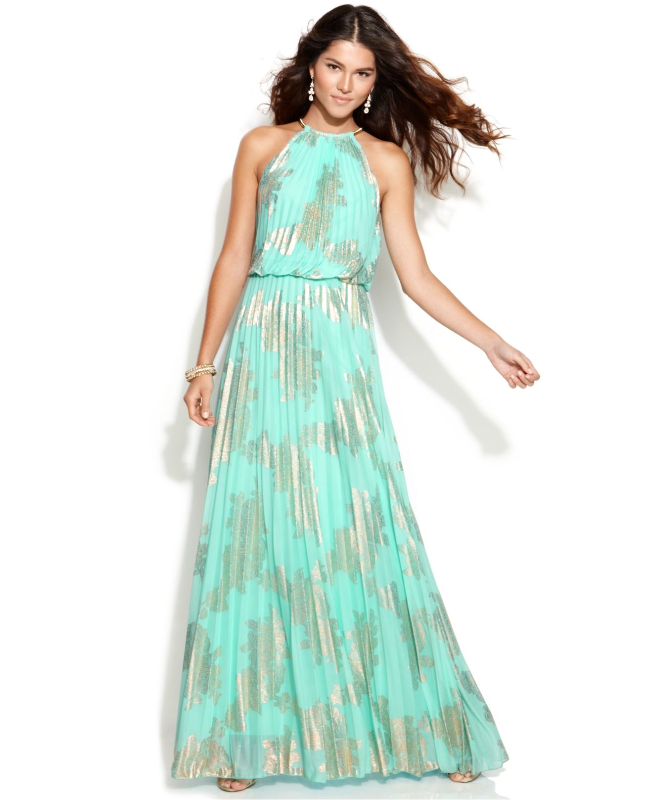 Xscape Petite Sleeveless Pleated Halter Gown in Blue  Lyst