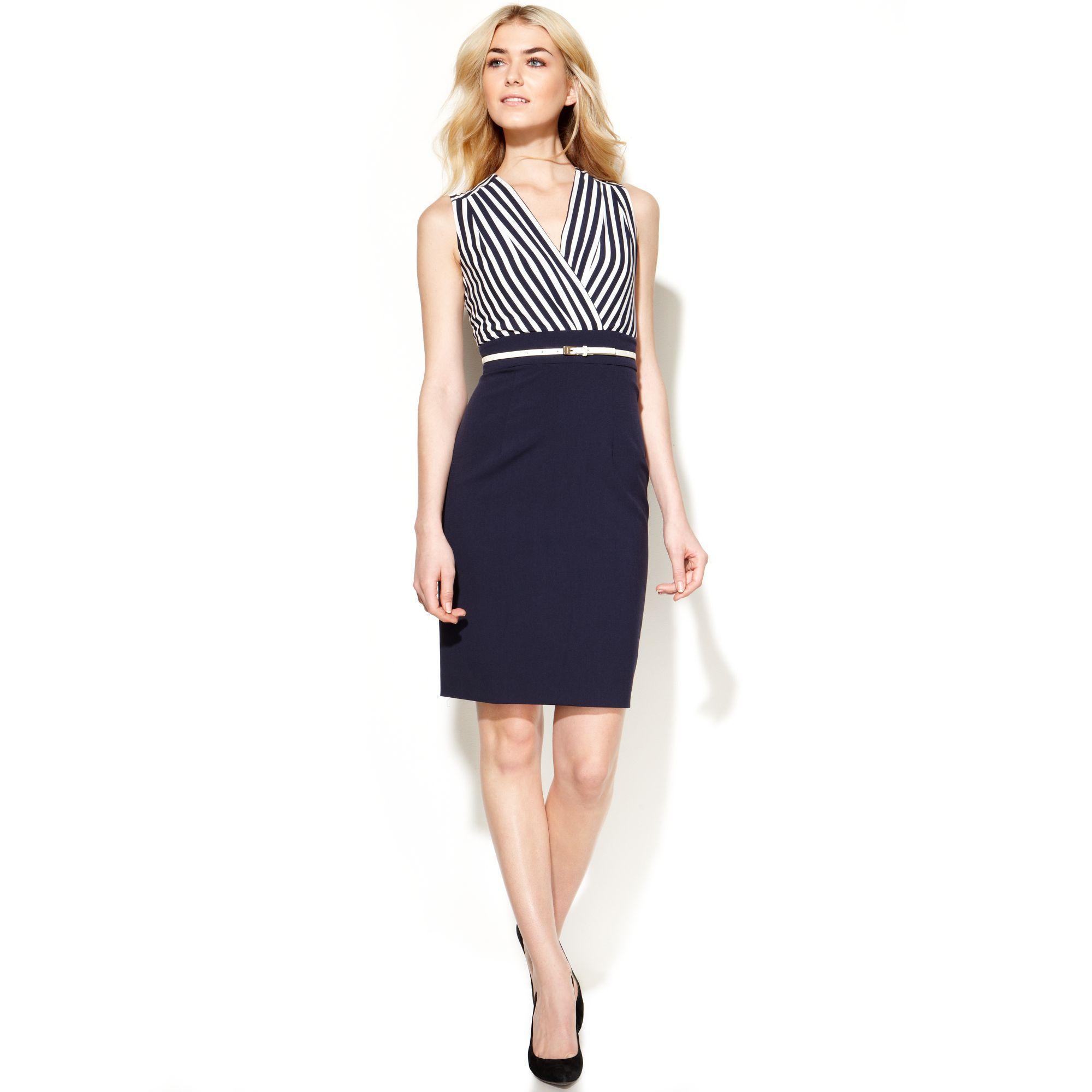 calvin klein sleeveless stripetop belted dress in blue