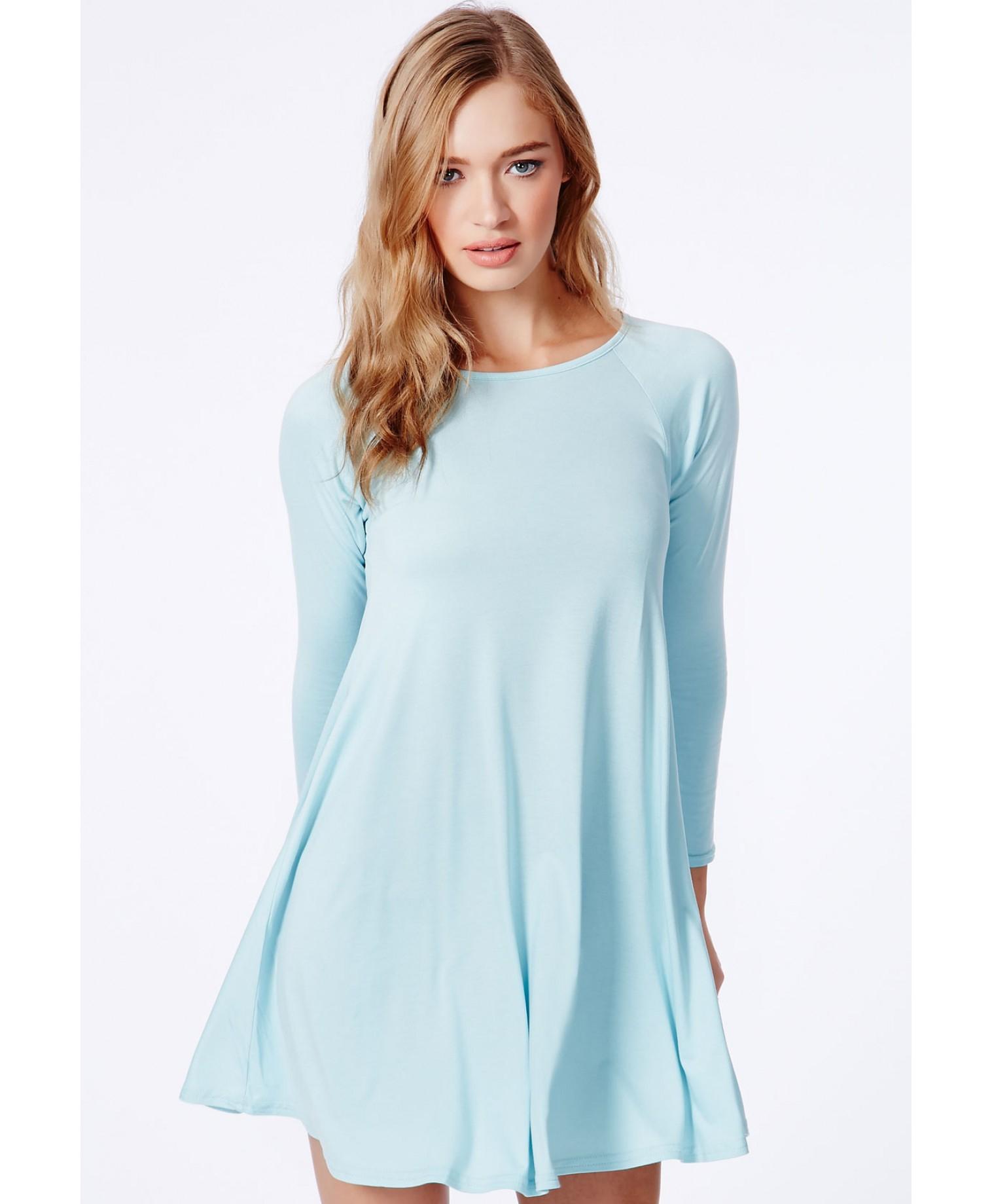 854014d362b4 Lyst Missd Mikita Long Sleeve Swing Dress In Baby Blue