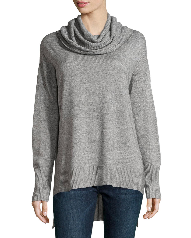 Cowl Neckline: Neiman Marcus Oversized Cowl-neck High-low Sweater In