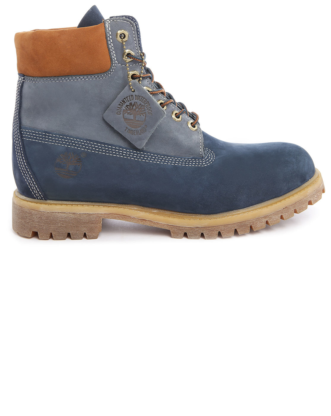 timberland premium nubuck 6 inch blue contrasted with rust boots in blue for men lyst. Black Bedroom Furniture Sets. Home Design Ideas