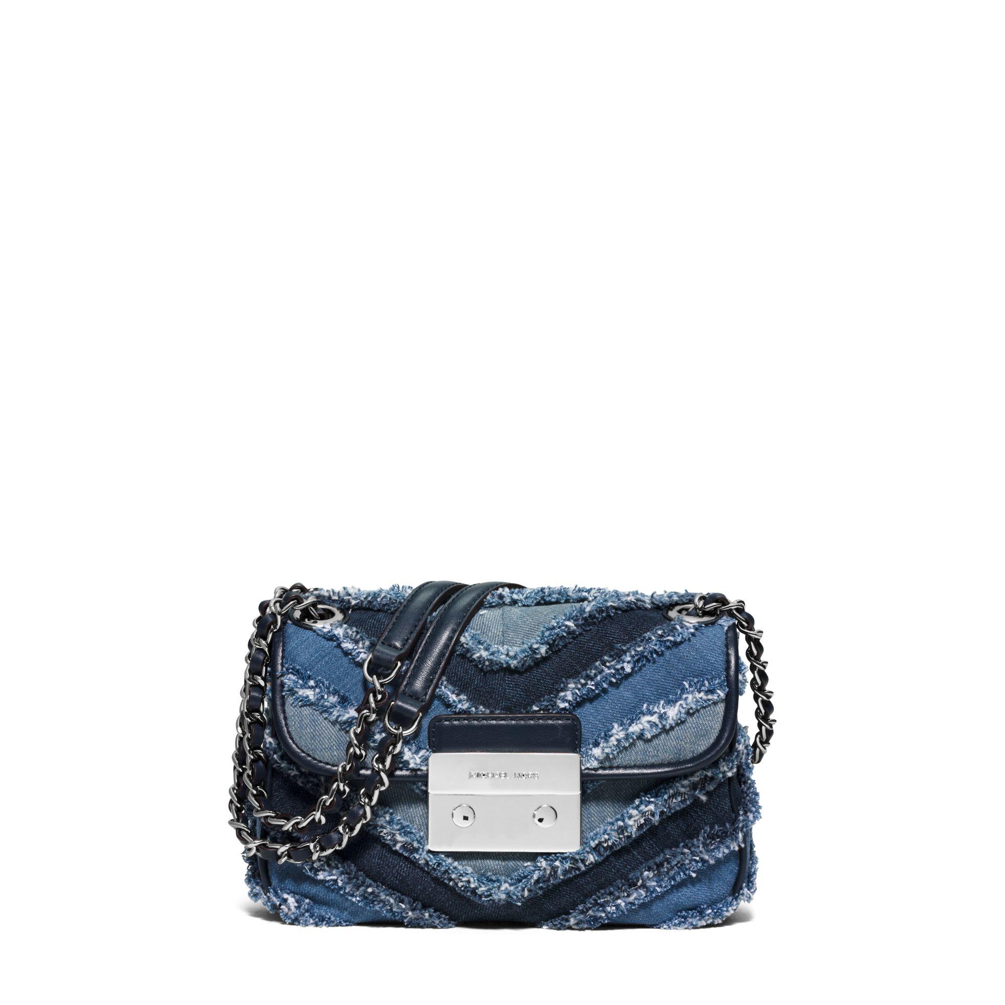 Lyst - Michael Kors Sloan Small Denim Chevron Shoulder Bag In Blue