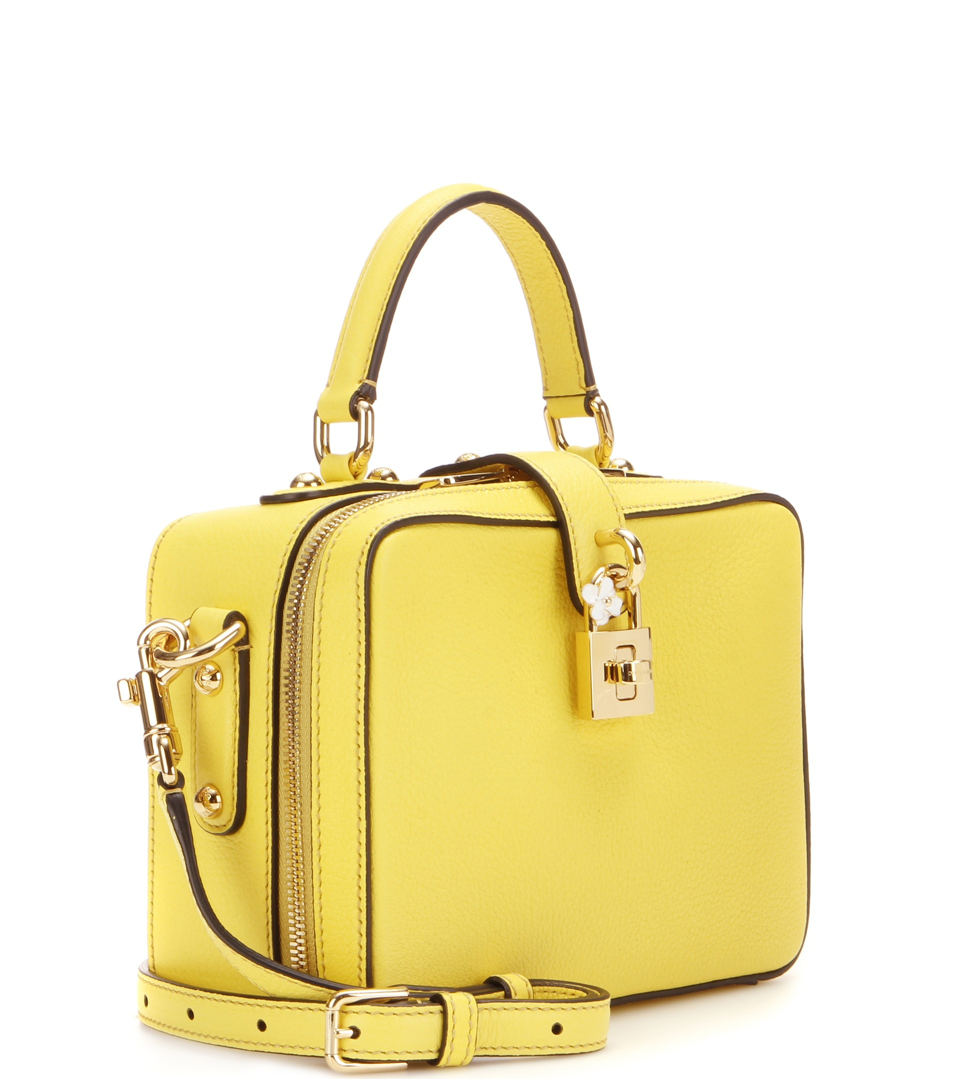 29aaada05f Lyst - Dolce   Gabbana Rosaria Leather Shoulder Bag in Yellow