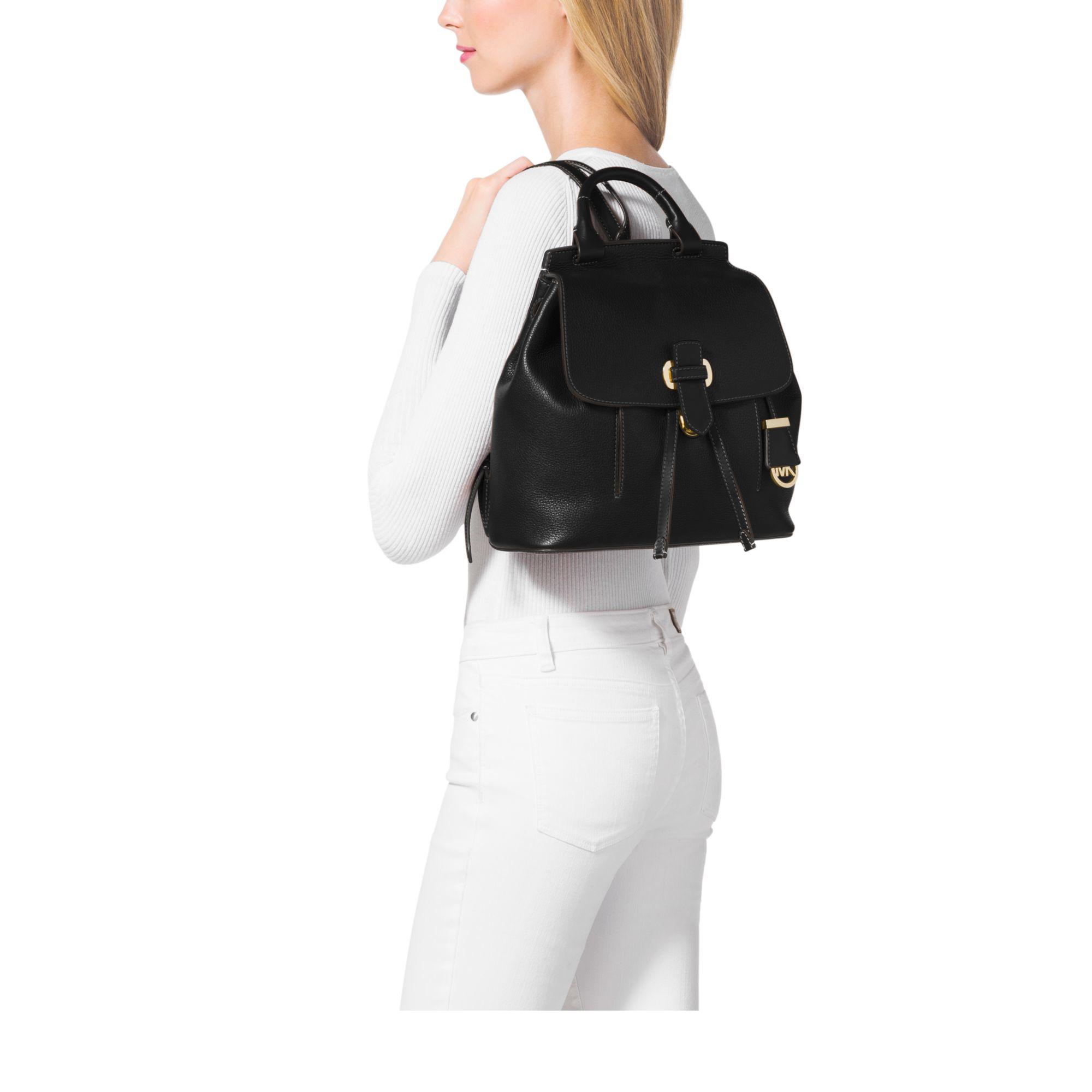 9e183b68e53c ... reduced lyst michael kors romy medium leather backpack in black 43cd7  187d9