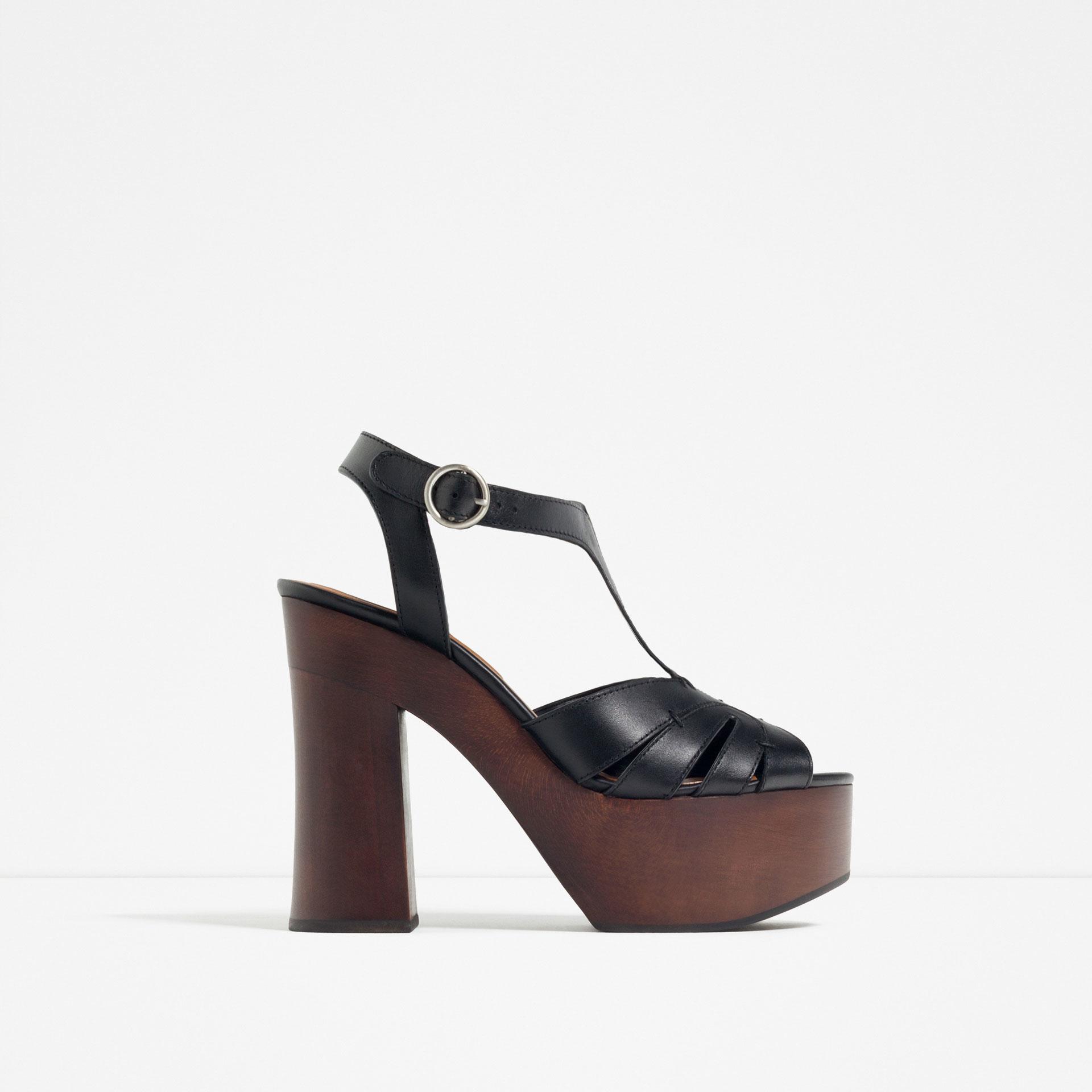 zara wooden platform leather sandals in black lyst