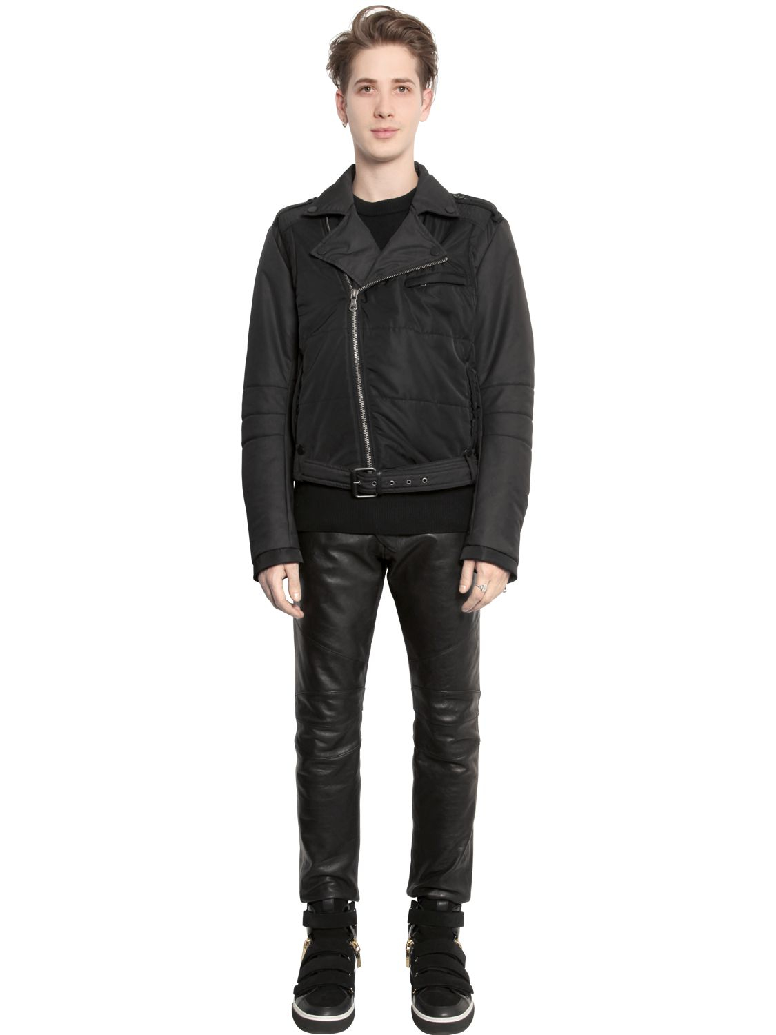 Balmain Quilted Nylon Moto Jacket In Black Lyst