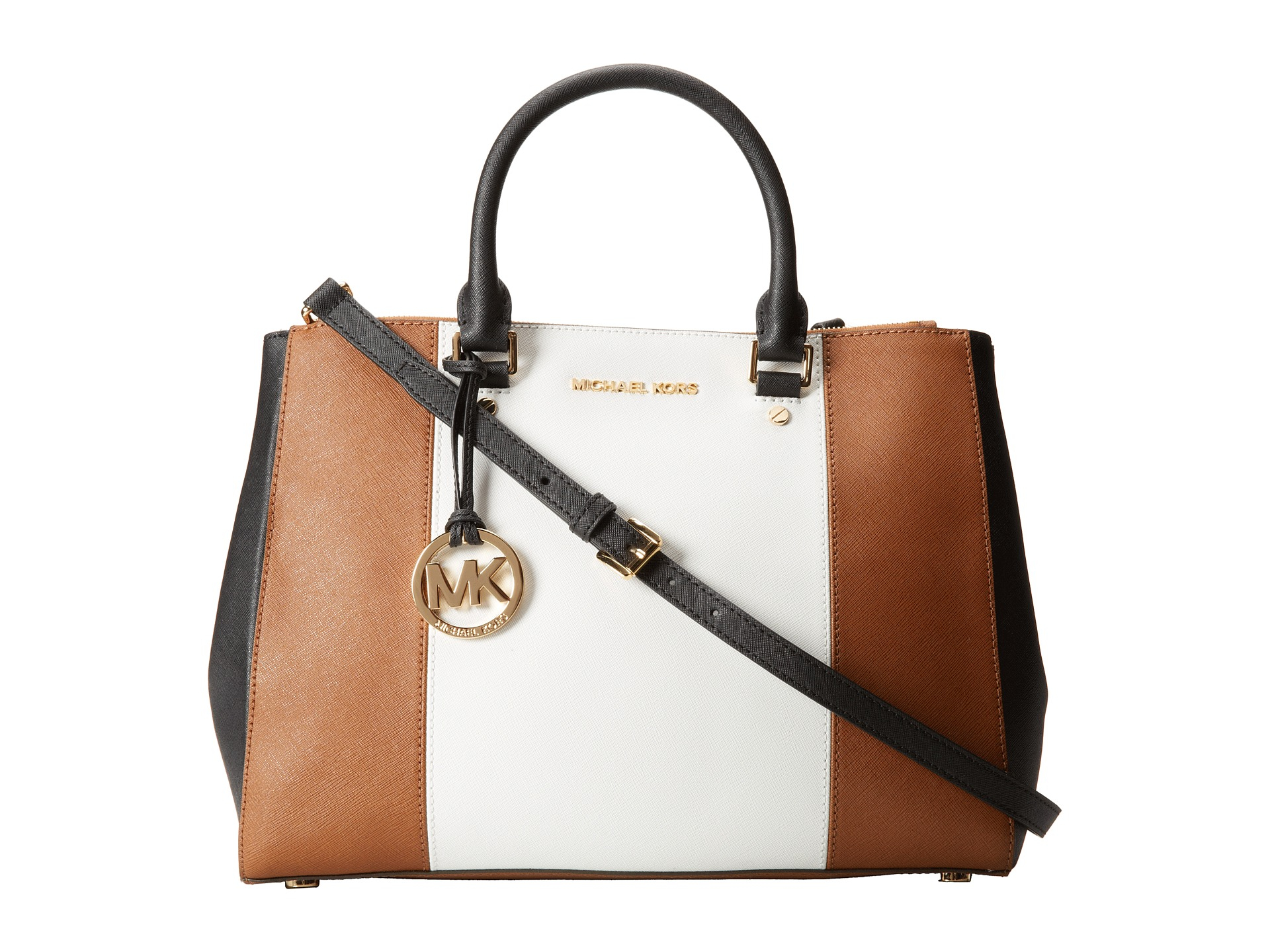b2156f21d309f9 ... official lyst michael michael kors sutton center stripe large satchel  in brown f72af 5bb43