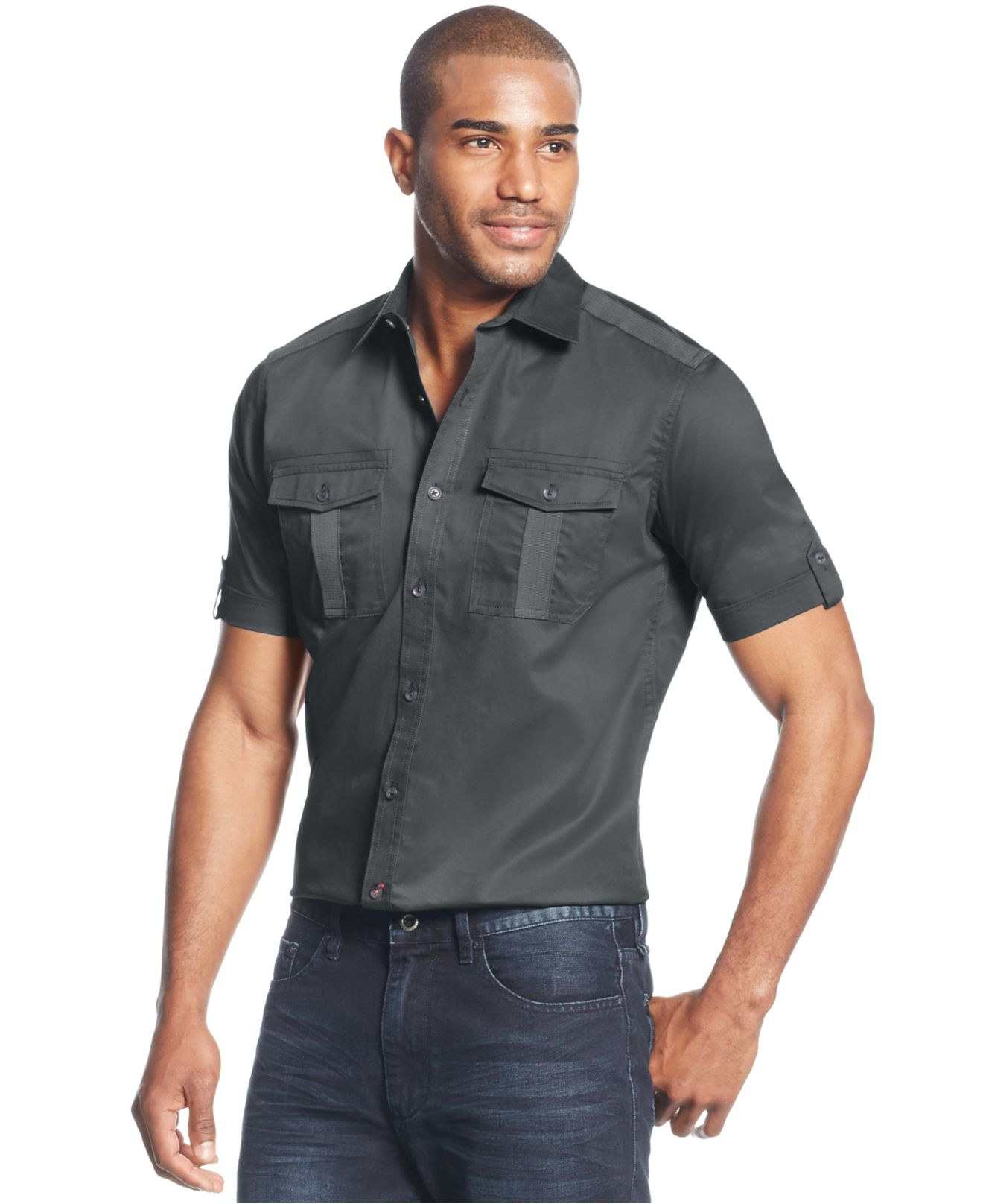 Lyst sean john big and tall twill shirt in gray for men for Sean john t shirts for mens