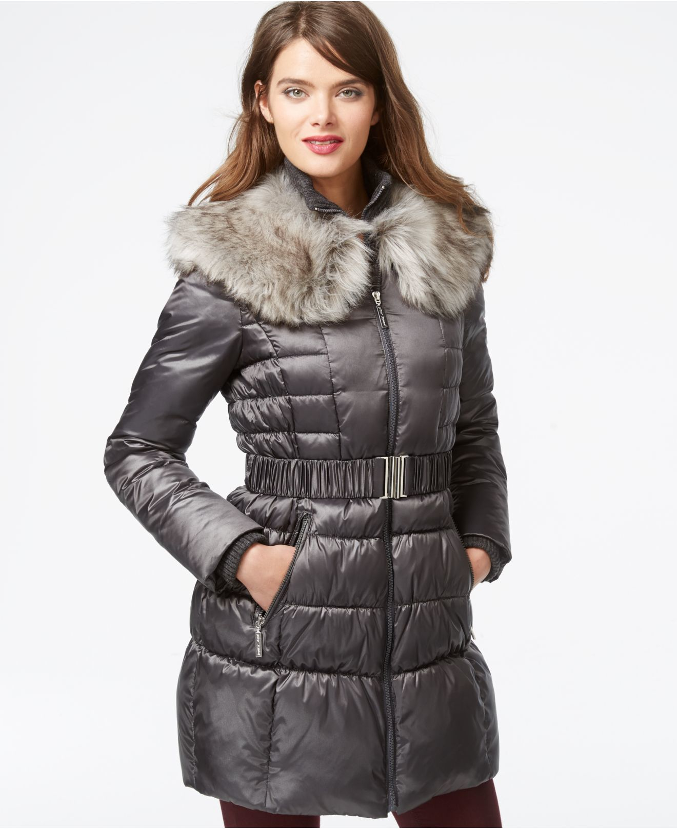 Lyst Betsey Johnson Faux Fur Collar Belted Puffer Coat