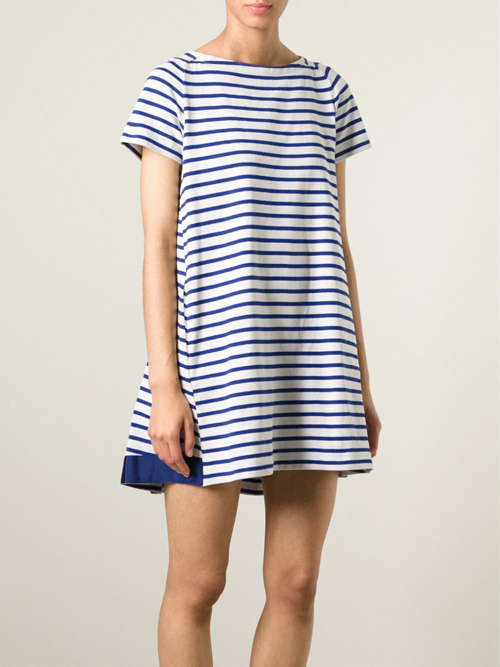 Lyst Sacai Striped Loose Fit T Shirt Dress In Blue