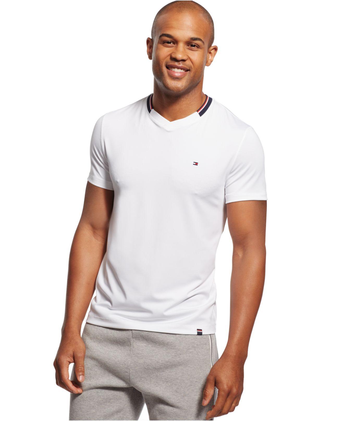 tommy hilfiger collar stripe v neck t shirt in white for. Black Bedroom Furniture Sets. Home Design Ideas