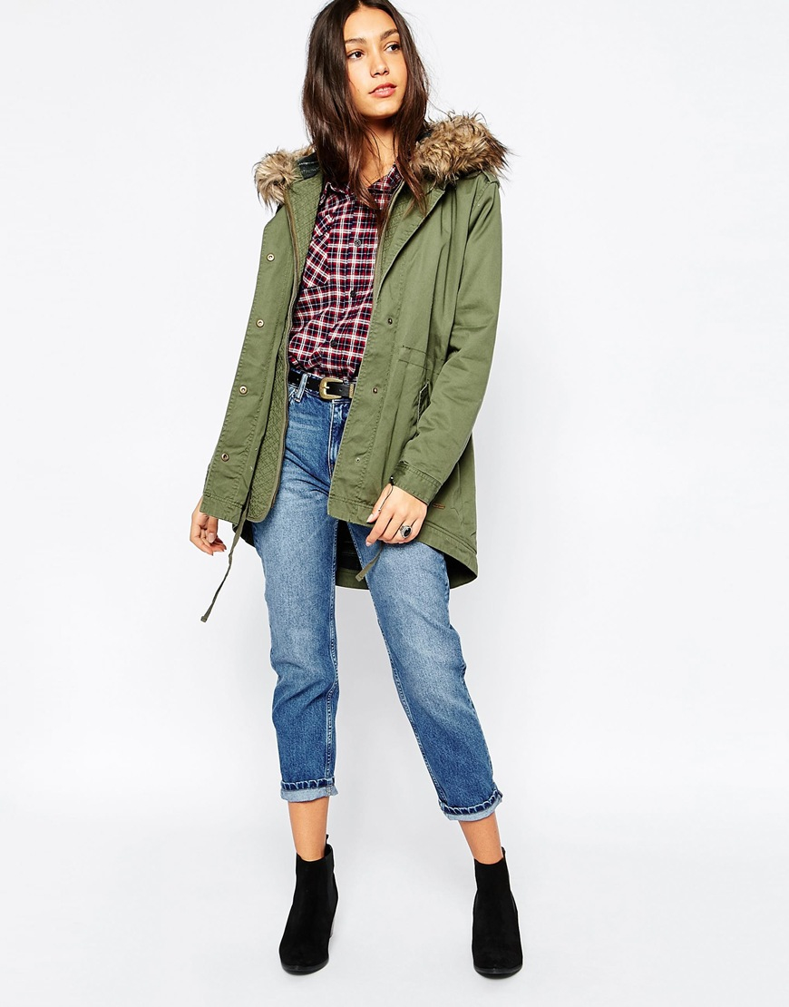 With Lyst Faux Pepe Jeans Green Hood In Fur Parka Seattle wqrIBq1