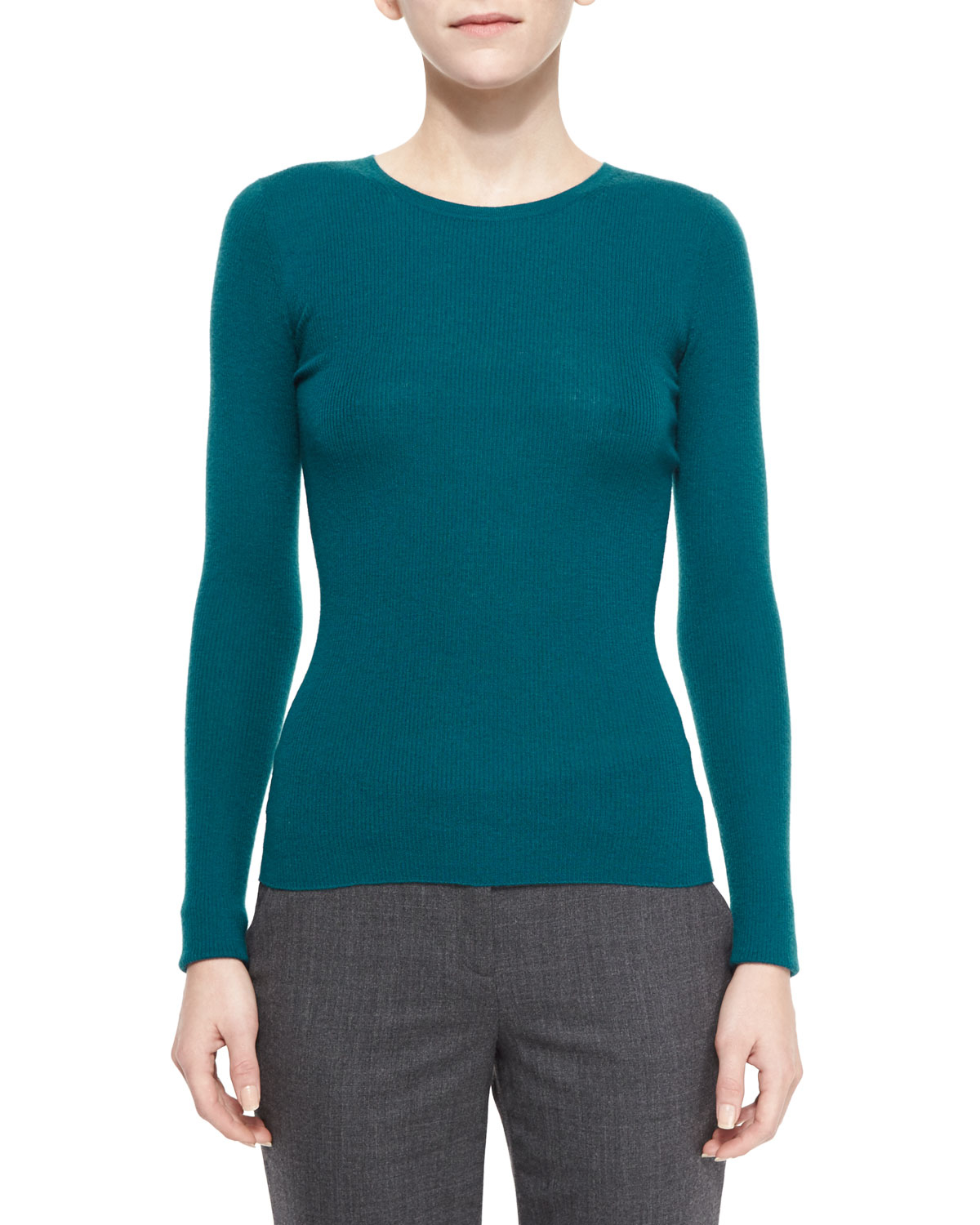 michael kors long sleeve ribbed cashmere sweater in green peacock save 74 lyst. Black Bedroom Furniture Sets. Home Design Ideas