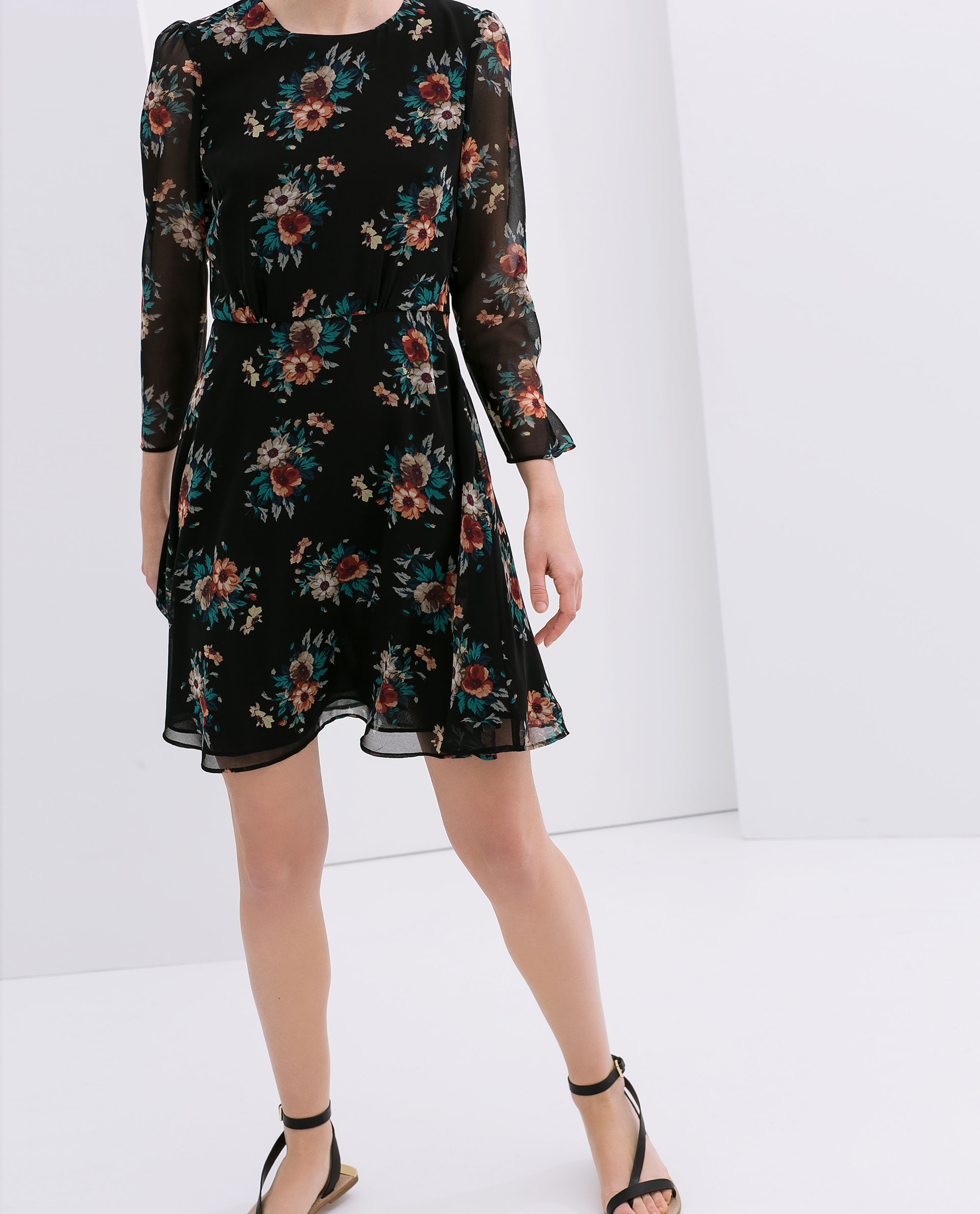 Zara Floral Print Dress In Black Lyst